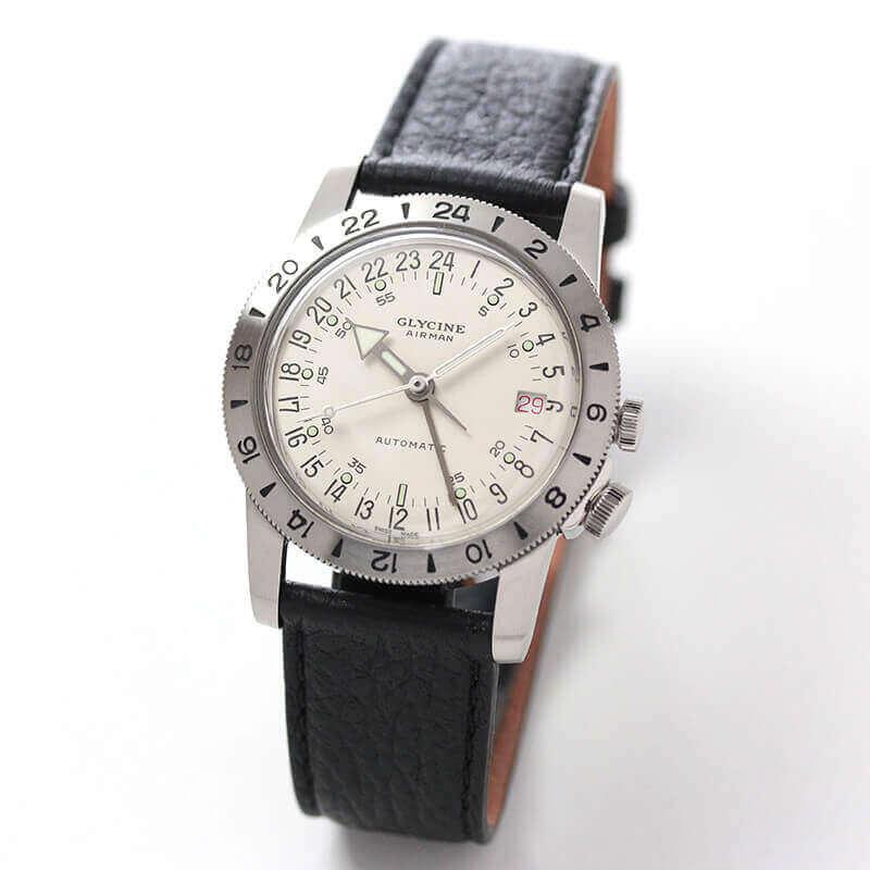 【世界限定1000本】GLYCINE(グリシン) AIRMAN(エアマン) 36 NO1 GL0160 ダブルGMT 自動巻き 腕時計