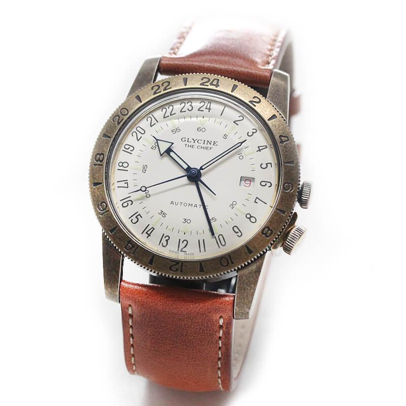 GLYCINE(グリシン) AIRMAN(エアマン) ヴィンテージ The CHIEF(チーフ)GL0245 自動巻き GMT 腕時計