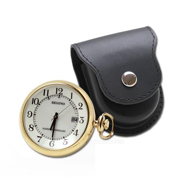 シチズン レグノ ソーラー電波 懐中時計と正美堂オリジナル革ケース(ブラックン) セット KL792231-SP408F-BK