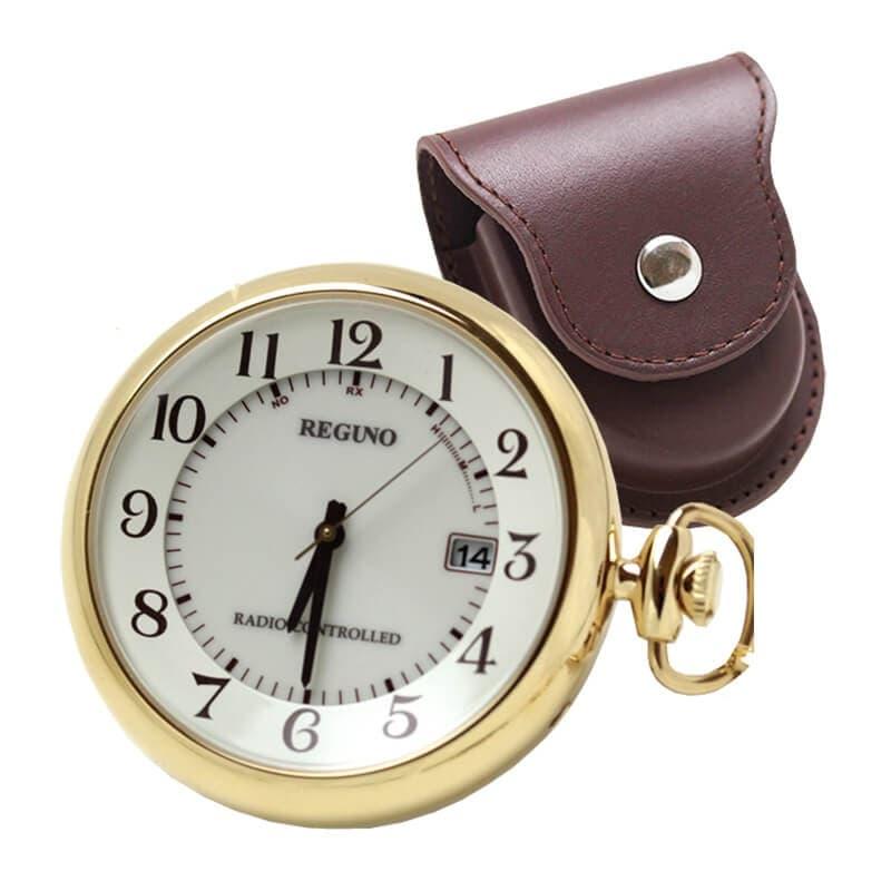 シチズン レグノ ソーラー電波懐中時計と正美堂オリジナル革ケース(ブラウン) セット KL792231-SP408F