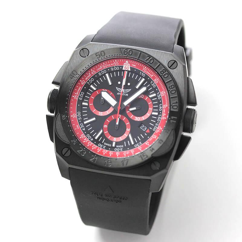 AVIATOR(アビエイター) MIG-29 SMT CHRONO(ミグ29 SMTクロノ)  クォーツ パイロットウォッチ M.2.30.5.215.6 ブラック 腕時計