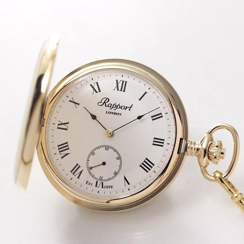 Rapport(ラポート) 手巻き式 フルハンター 懐中時計 ゴールドカラー PW20