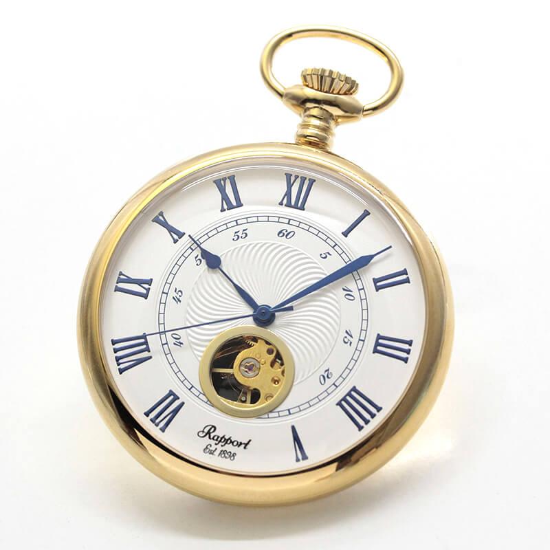 ラポート/Rapport/手巻き式 ゴールドカラー オープンハート 懐中時計 PW76