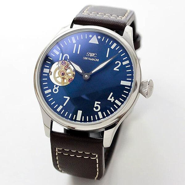 正美堂時計店オリジナルウォッチ/腕時計/ブルー文字盤/アジア製ゴールドムーブメント使用