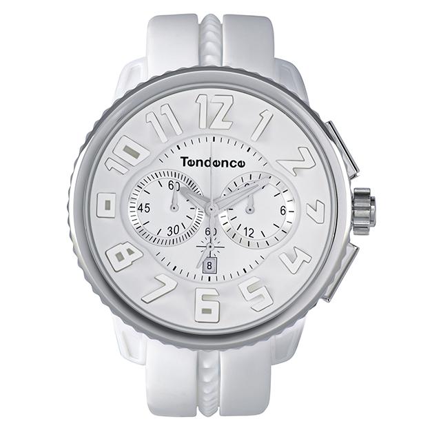 取扱中止、最後の1本 Tendence(テンデンス)GULLIVER ROUND(ガリバーラウンド)クロノグラフTG036013・02036013AA ホワイト 腕時計