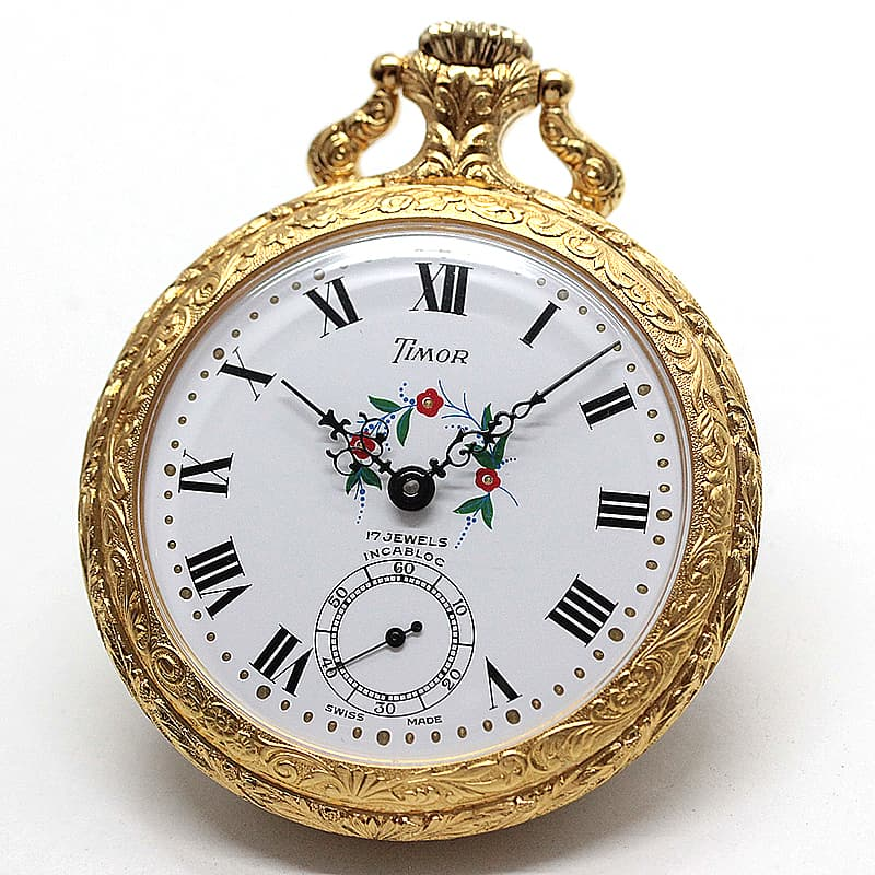 TIMOR/ティモール/オープンフェイス/ラッカー仕上げ/TPFLORALA/ゴールドカラー 懐中時計