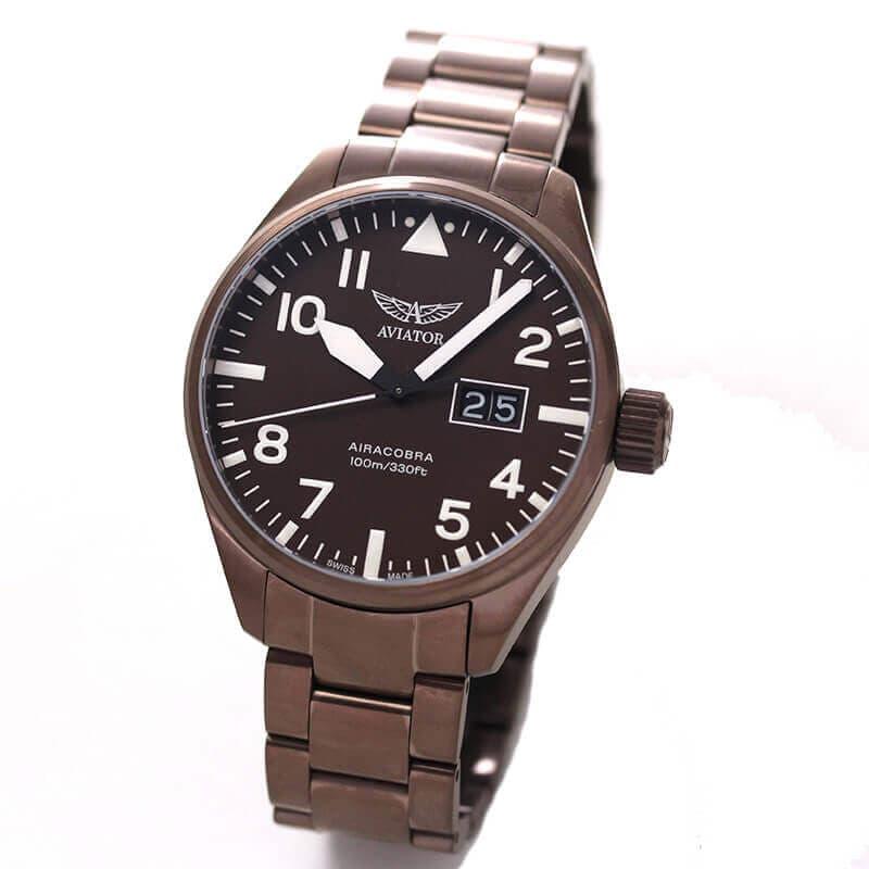AVIATOR(アビエイター) AIRACOBRA(エアラコブラ) P42 パイロットウォッチ v.1.22.8.151.5 クォーツ 腕時計