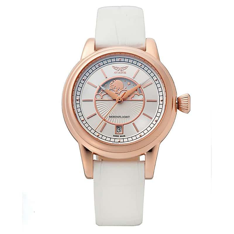AVIATOR(アビエイター) MOONFLIGHT(ムーンフライト)DUSTY JADE Gold×ホワイト  V.1.33.2.251.4 腕時計