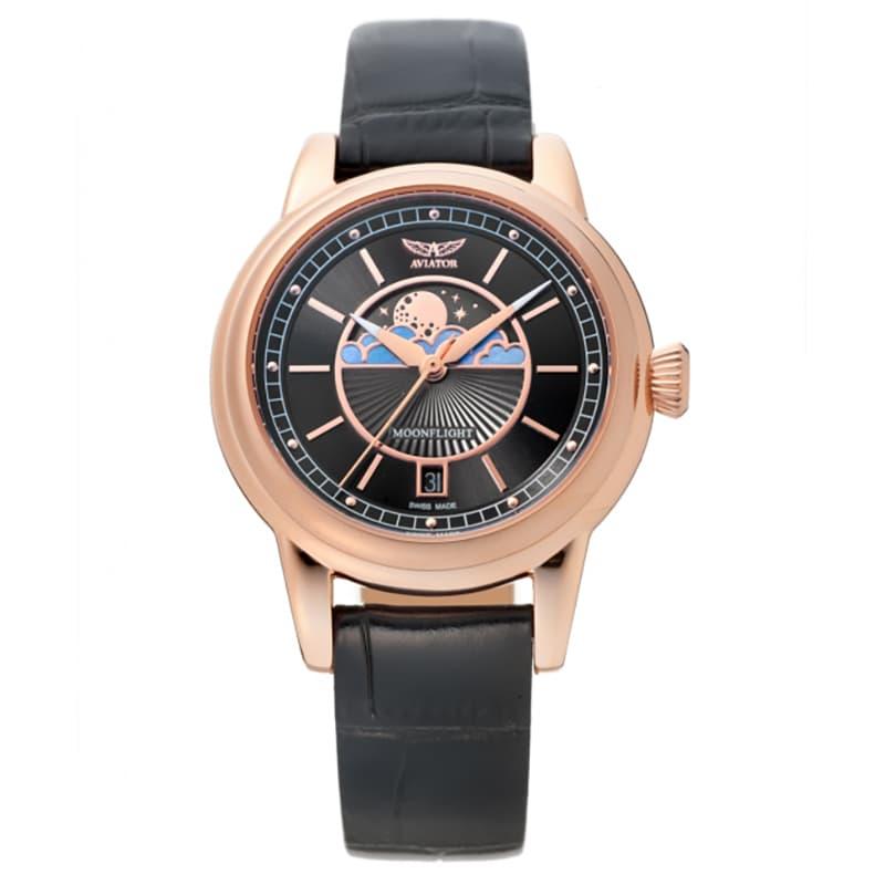 AVIATOR(アビエイター) MOONFLIGHT(ムーンフライト)DUSTY JADE Gold V.1.33.2.253.4 ブラック 腕時計