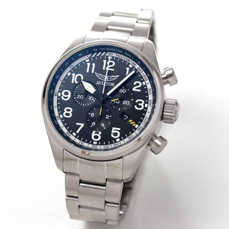 AVIATOR(アビエイター) AIRACOBRA(エアラコブラ) P45 クロノグラフ パイロットウォッチ V.2.25.0.169.5 クォーツ 腕時計