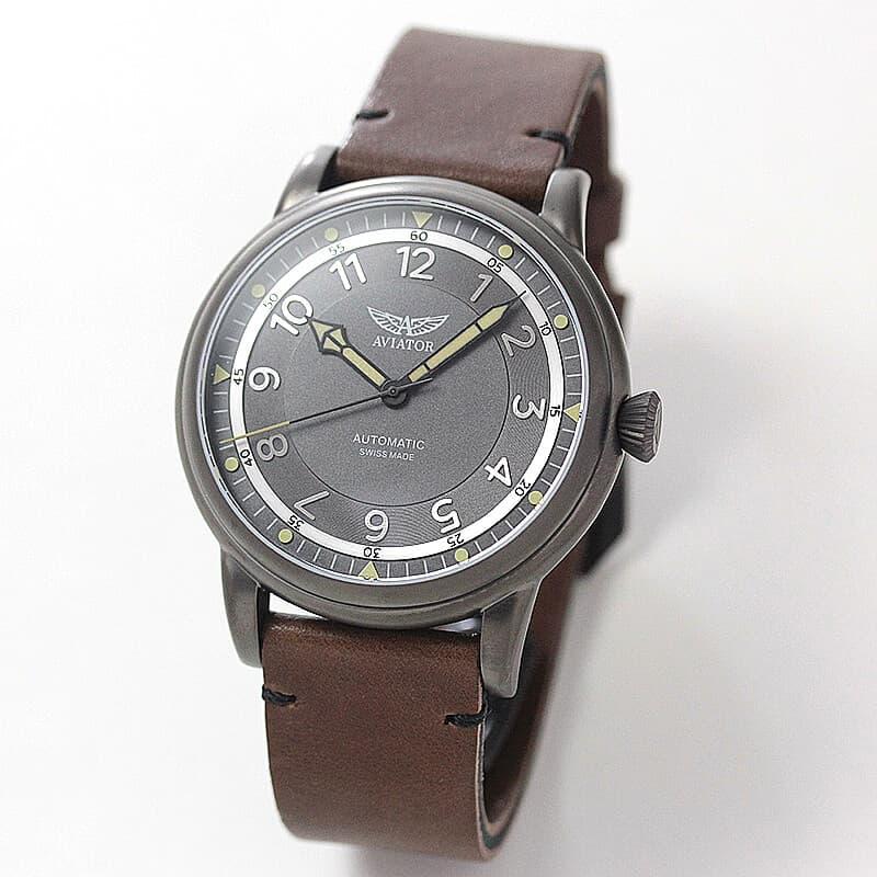 AVIATOR(アビエイター) DOUGLAS DAKOTA(ダグラス ダコタ) パイロットウォッチ V.3.31.7.229.4 ブラウンレザー 腕時計(フライトジャケット付き)