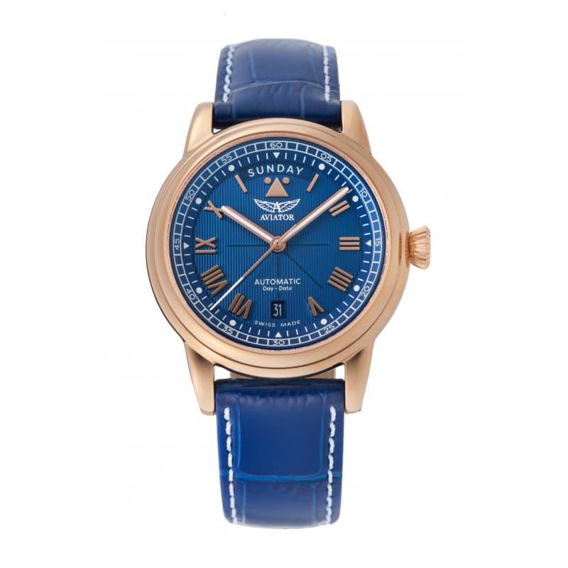 AVIATOR(アビエイター) DOUGLAS(ダグラス) デイデイト 41 自動巻き 腕時計 ブルー V.3.35.2.277.4