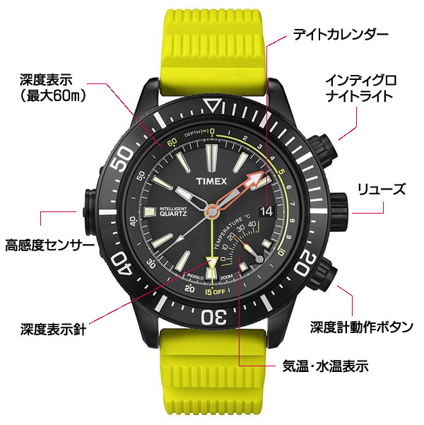 TIMEX タイメックス 腕時計 インテリジェントクォーツ デプスゲージ 詳細