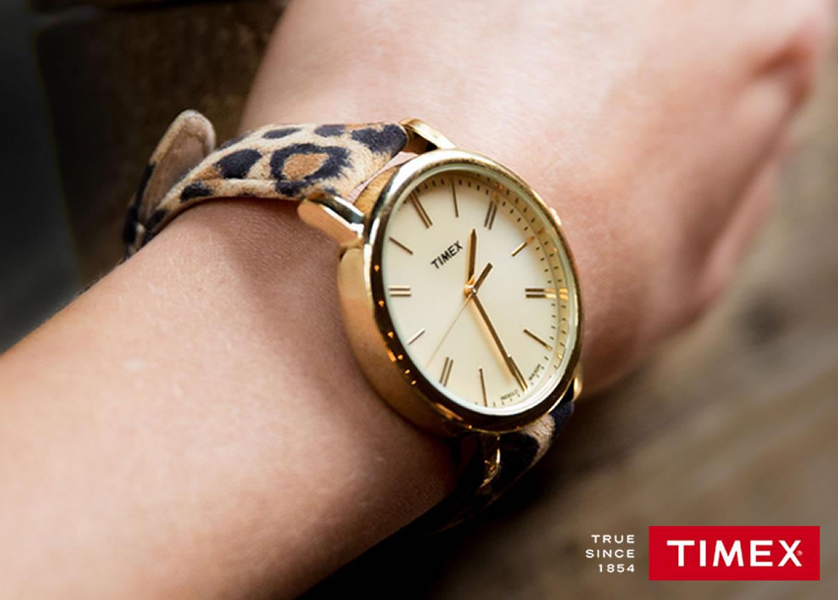 TIMEX Originals   シャンパンゴールドダイアル×レオパード柄ベルト TW2P69800