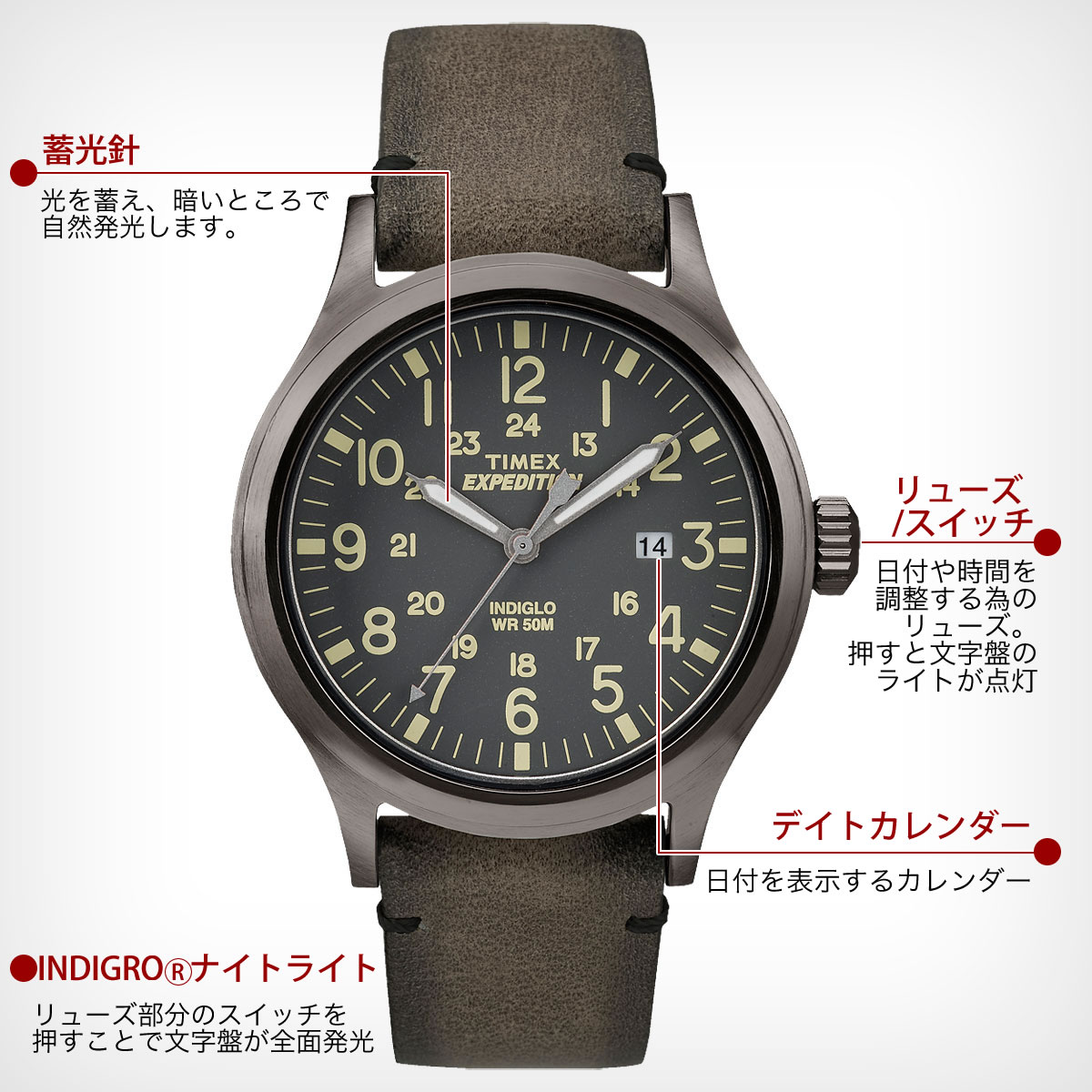 TIMEX Expedition  SCOUT ブラック×カーキ 40mm TW4B01700 機能詳細