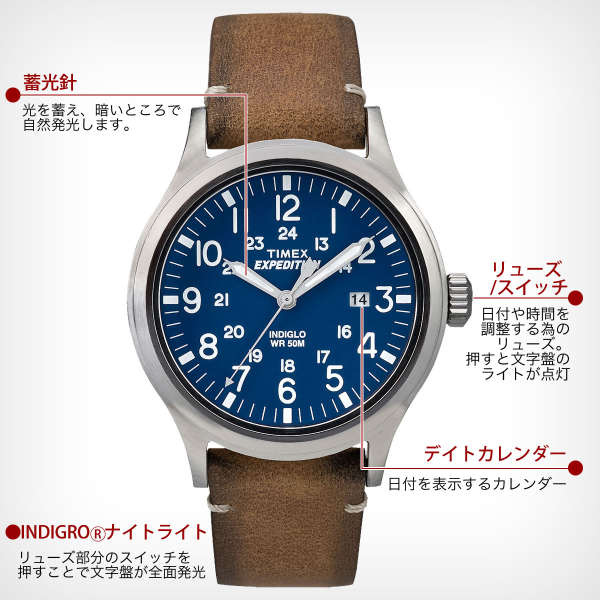TIMEX Expedition  SCOUT ネイビー 40mm TW4B01800 機能詳細