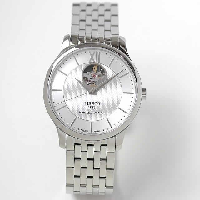 TISSOT(ティソ) トラディション 自動巻き パワーマティック80 メンズウォッチ ホワイト オープンハート 腕時計