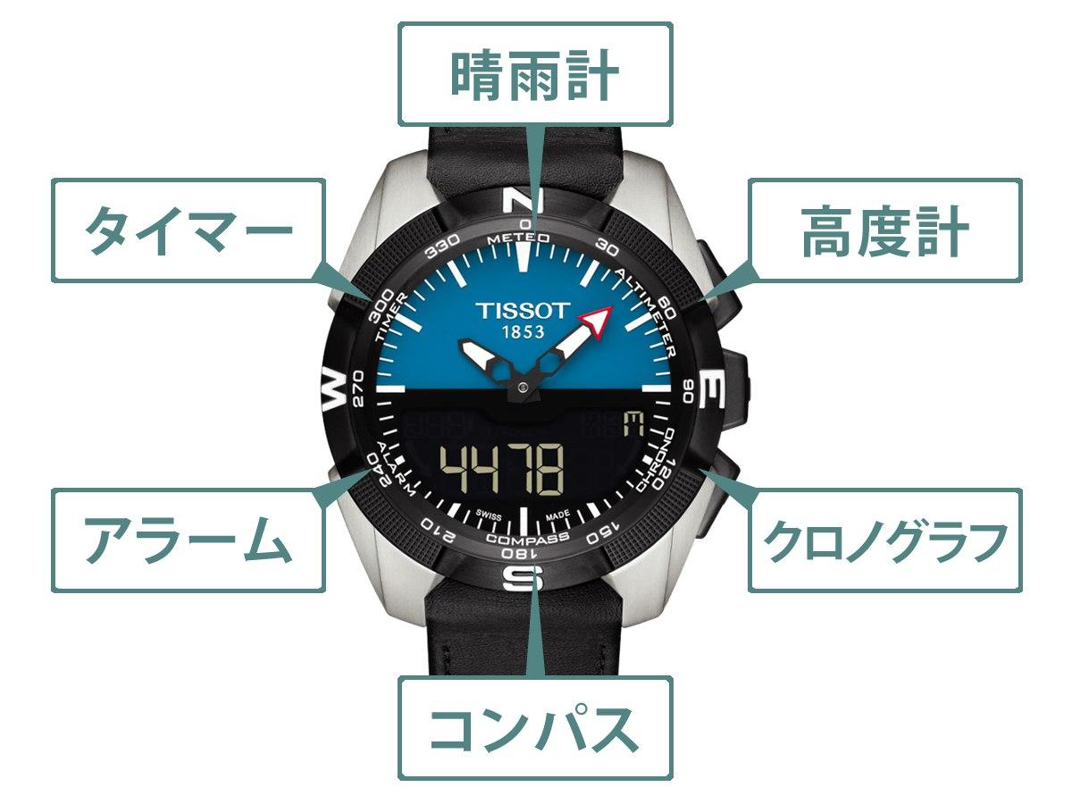 t0914204604100 機能 晴雨計、タイマー、アラーム、コンパス、高度計、クロノグラフ
