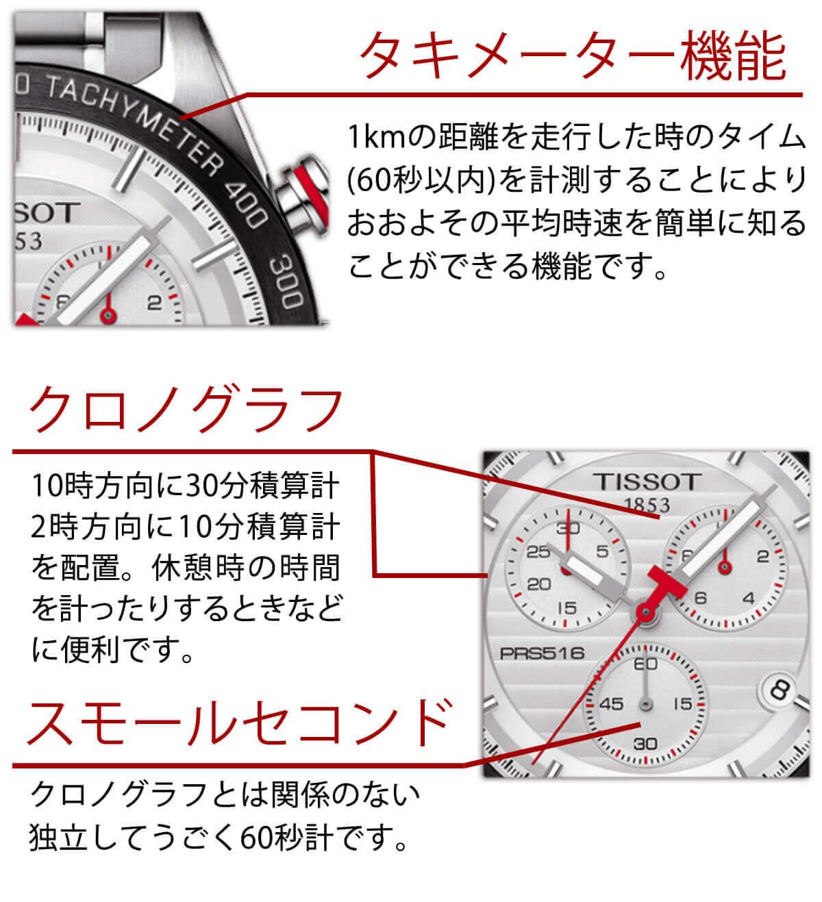 ティソ 男性用腕時計 クロノグラフ タキメーター t1004171103100 機能 詳細