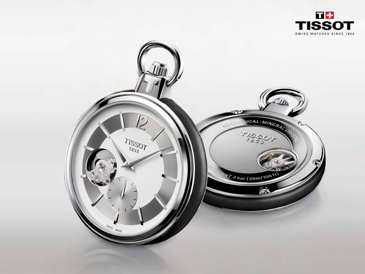 ティソ 懐中時計 メカニカルスケルトン ブラウンレザーバンド