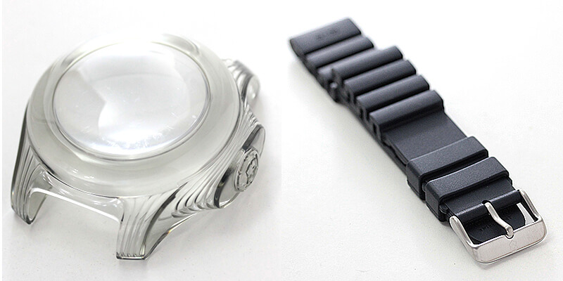 取り外し可能なレンズ付きバンパーは、時計を保護するとともに、多機能で個性的なスタイルを演出。