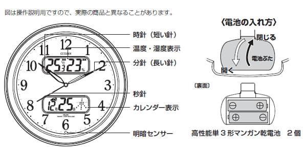 シチズン 電波掛け時計 ネムリーナカレンダーM01(シルバー) 【4fya01019】 商品説明