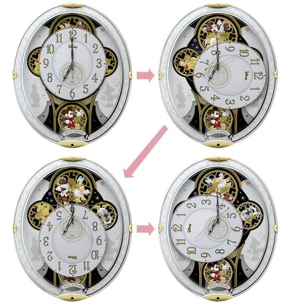 RHYTHM リズム ディズニーキャラクター 電波 からくり 掛け時計 ミッキー&フレンズM509 4MN509MC03 パフォーマンス