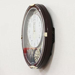 RHYTHM リズム SmallWorld 電波 からくり 掛け時計 スモールワールドノエルN 4MN539RH23 木目仕上 側面