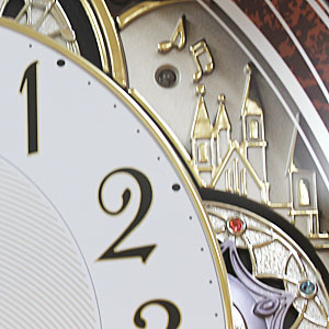 RHYTHM リズム SmallWorld 電波 からくり 掛け時計 スモールワールドノエルN 4MN539RH23 木目仕上 装飾