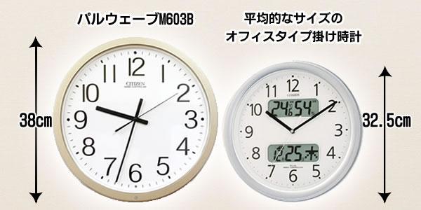 シチズン電波掛け時計パルウェーブM603B【4MY603-B19】 サイズ比較