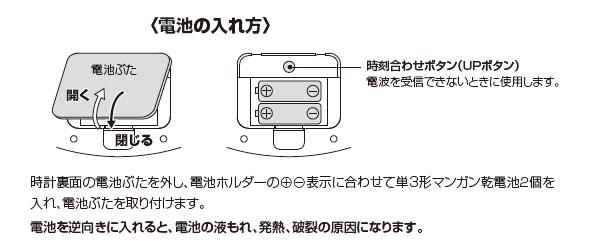 シチズン電波掛け時計パルウェーブM603B【4MY603-B19】 電池の入れ方