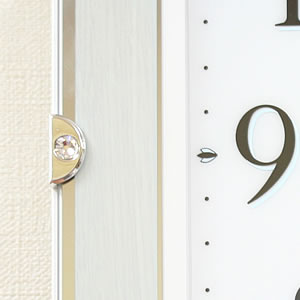 CITIZEN シチズン 電波掛け時計 サイレントソーラーM826【4MY826-004】 木枠 スワロフスキー・エレメントの留め飾り