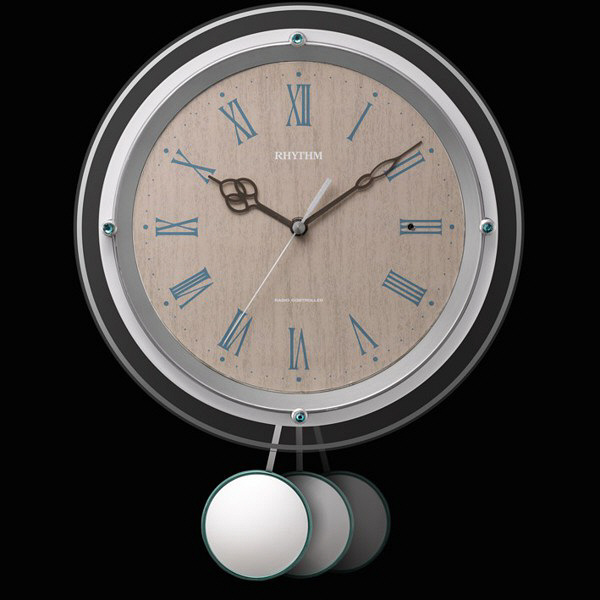 RHYTHM リズム 電波 振り子 掛け時計 ソフレール 8MX404SR03 薄茶木目 振り子の動き