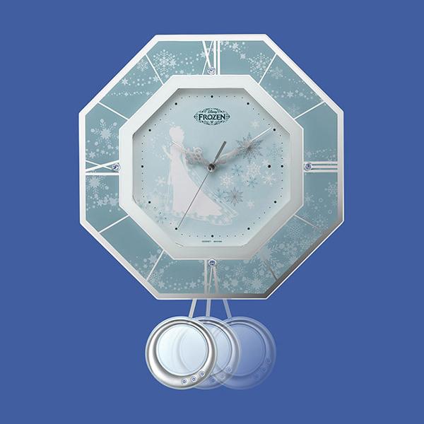 RHYTHM リズム ディズニーキャラクター 電波 振り子 掛け時計 アナと雪の女王 8MX405MC04 振り子