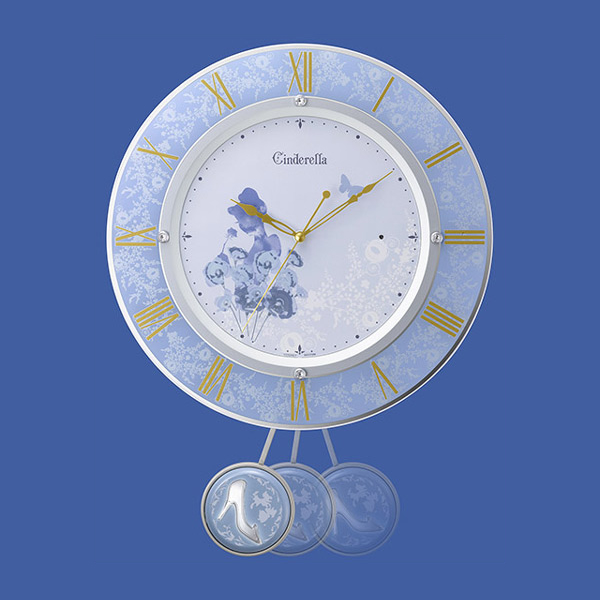 RHYTHM リズム ディズニーキャラクター 電波 振り子 掛け時計 シンデレラ 8MX406MC04 振り子