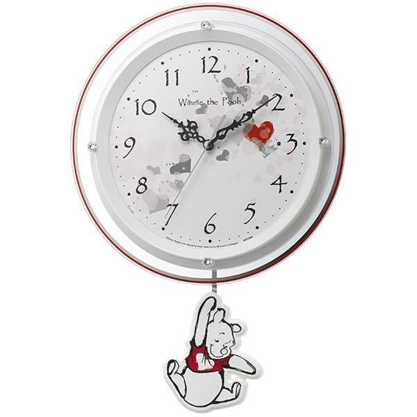 RHYTHM リズム ディズニーキャラクター 電波 振り子 掛け時計 くまのプーさん 8MX407MC03