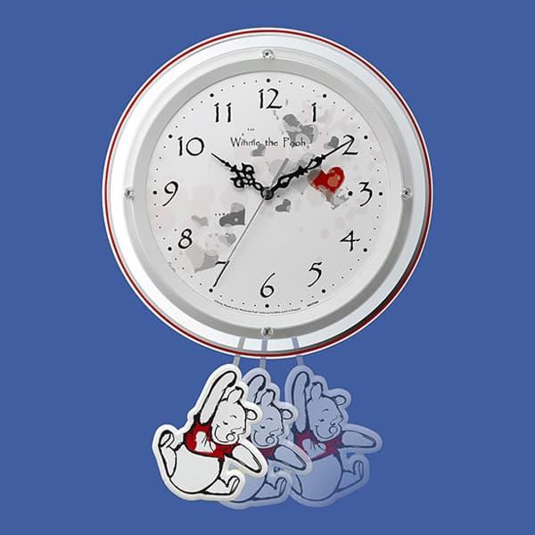 RHYTHM リズム ディズニーキャラクター 電波 振り子 掛け時計 くまのプーさん 8MX407MC03 振り子