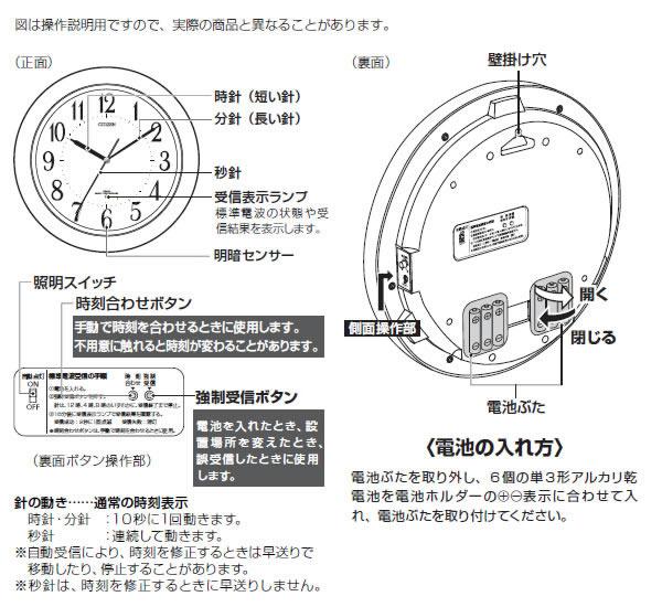 CITIZEN シチズン 夜光電波掛け時計 リバライトF461 【8MY461-006】 商品詳細