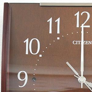CITIZEN シチズン SIMPLE MODE 電波掛け時計 シンプルモード【8MYA08-006】 茶色 文字盤