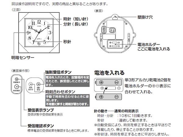 CITIZEN シチズン 電波掛け時計 深山郷【8mya12006】 商品詳細