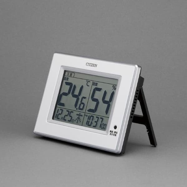 CITIZEN シチズン 環境目安表示付 デジタル 掛け置き兼用時計 ライフナビD200A 8RD200A03 白 置いた状態