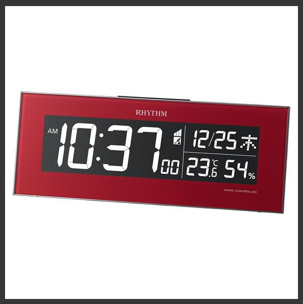 RHYTHM リズム デジタル 電波 掛け置き兼用時計 Iroria(イロリア) 8RZ173SR01 赤