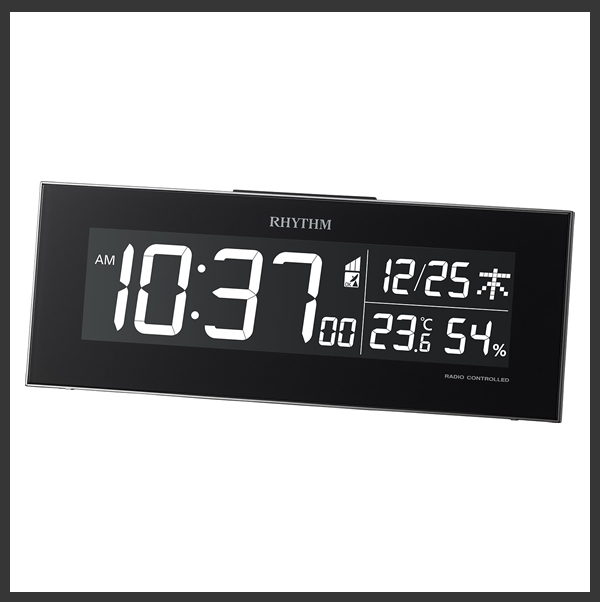 RHYTHM リズム デジタル 電波 掛け置き兼用時計 Iroria(イロリア) 8RZ173SR02 黒