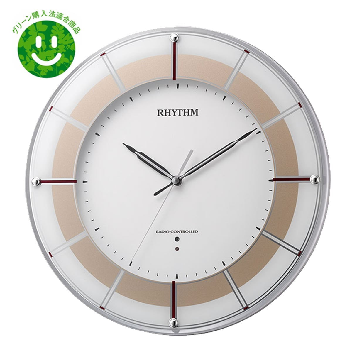 RHYTHM(リズム) 高感度電波掛け時計 スリーウェイブM843 4MY843SR18