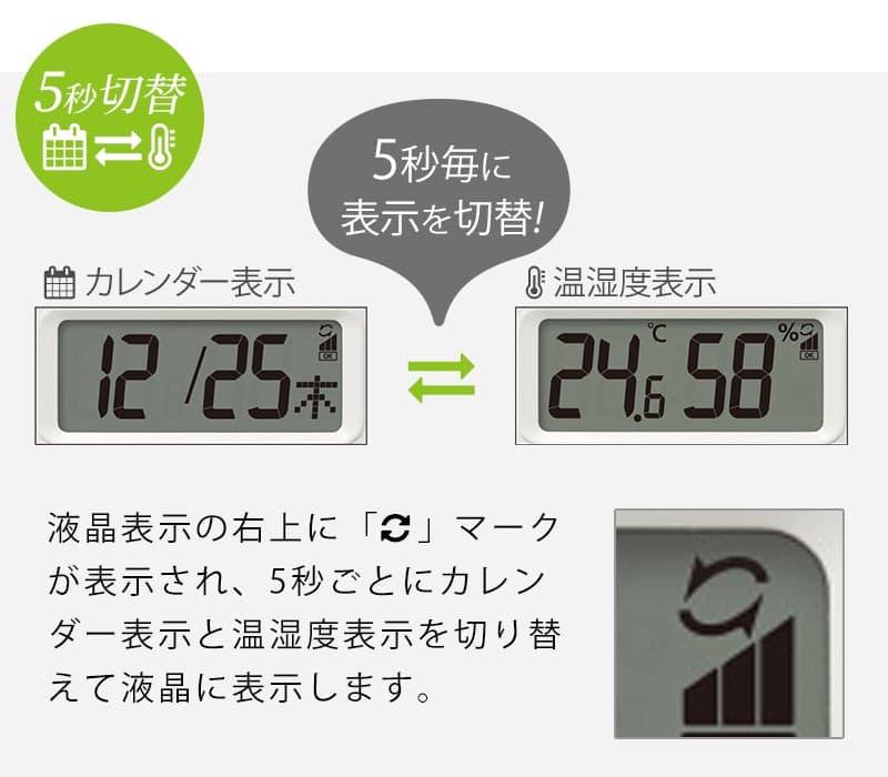 5秒毎にカレンダーと温湿度の表示を切替