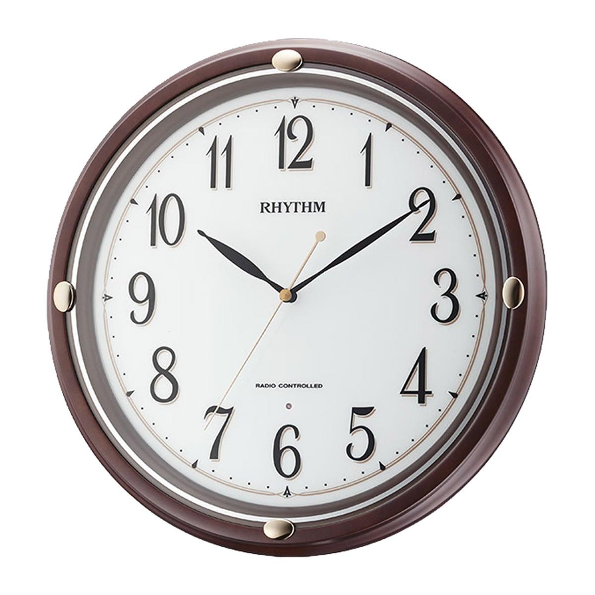 RHYTHM(リズム) 電波掛け時計 フィットウェーブフーガ 茶色 8MYA29SR06