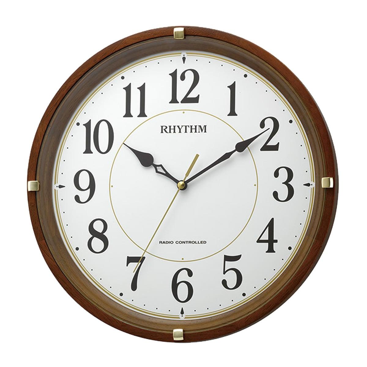 RHYTHM(リズム) 電波掛け時計 フィットウェーブライキー 茶色 8MYA32SR06
