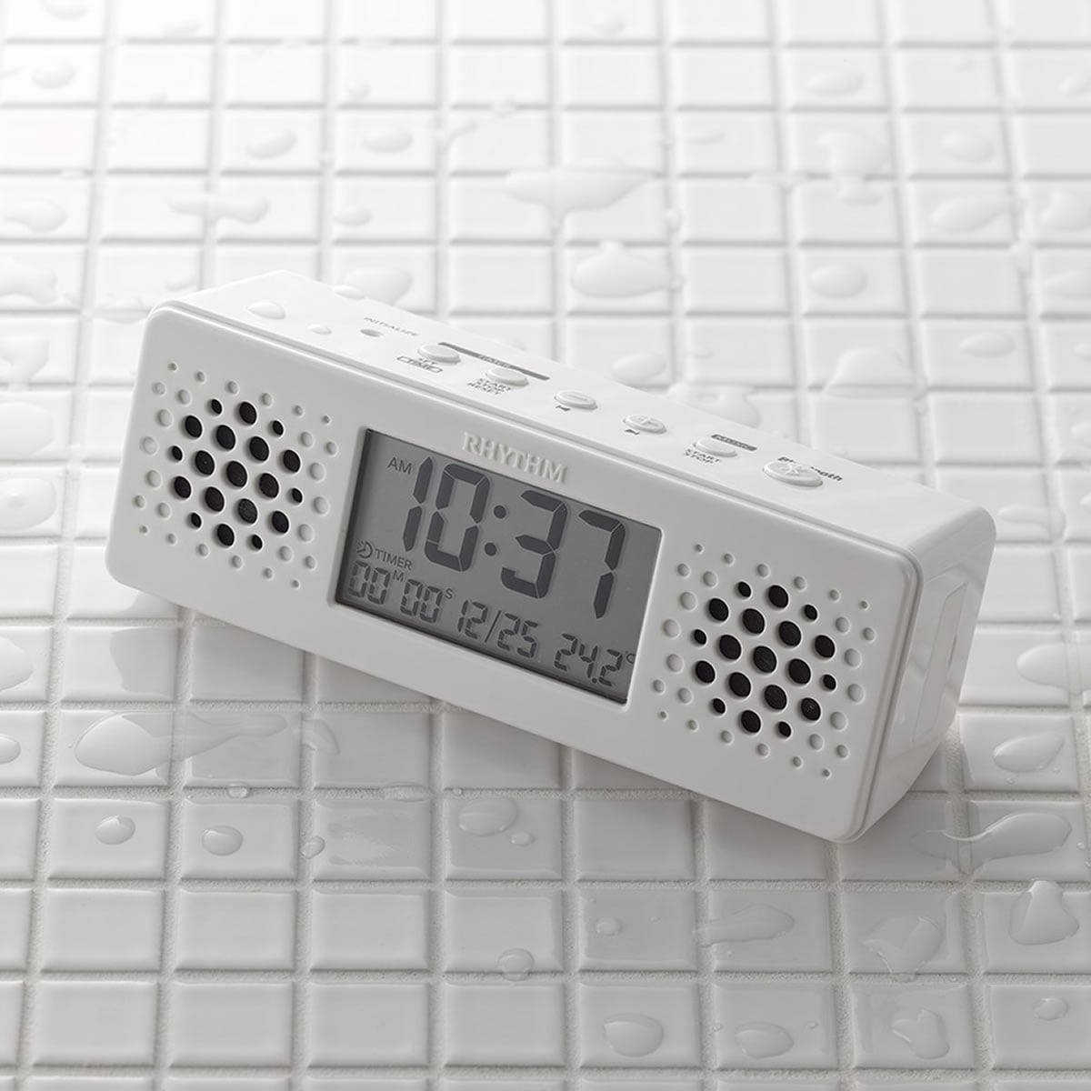 RHYTHM(リズム)Bluetoothスピーカー付きバスクロック アクアプルーフミュージック 8RDA73RH03
