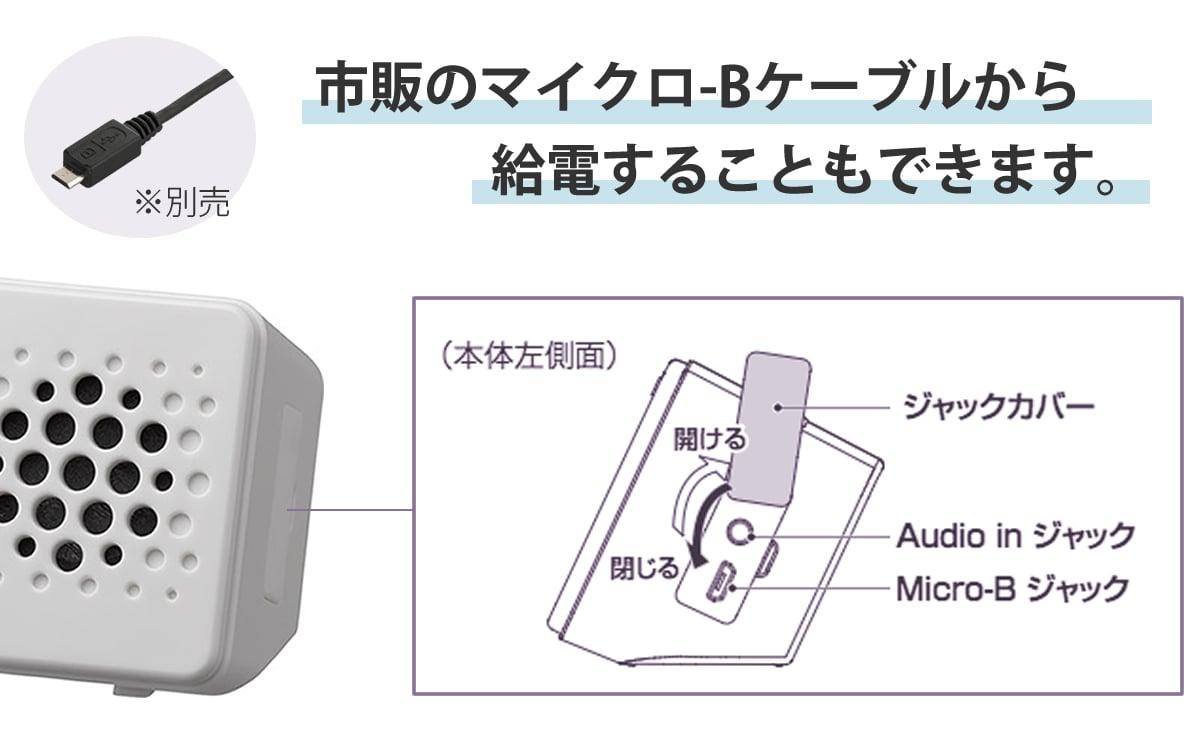 市販のマイクロUSBケーブルから給電することもできます。8RDA73RH03