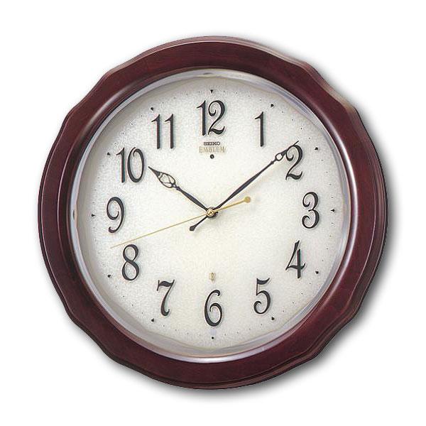 セイコーエムブレム シックな木製電波壁掛時計[HS521B] ZOOM